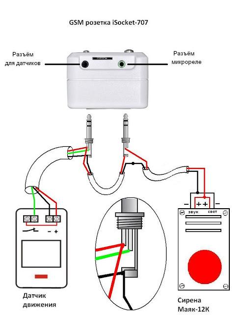 Датчик движения через джек для датчиков, сирена - через джек для реле