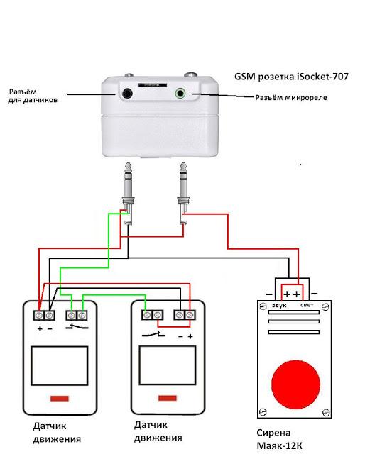 Подключение двух датчиков движения к розетке через джек для датчиков и сирены через джек для реле