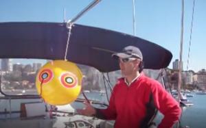 Виниловый шар с глазами хищника активно применяется для защиты яхт и малых судов на стоянках