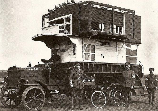 Мобильная голубятня на фронте, Первая Мировая война