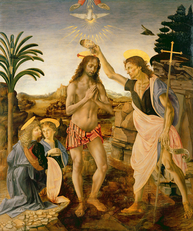 The Baptism Of Christ By John The Baptist Painting by Leonardo da Vinci