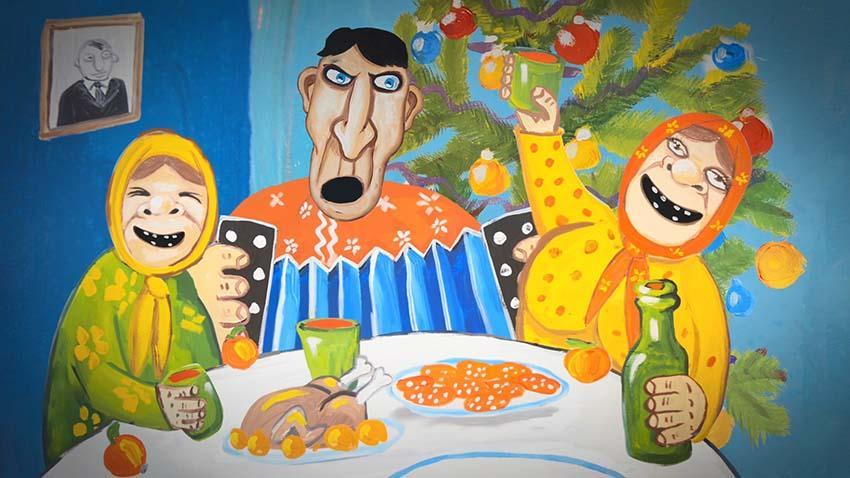 Встреча нового года в россии. Вася Ложкин