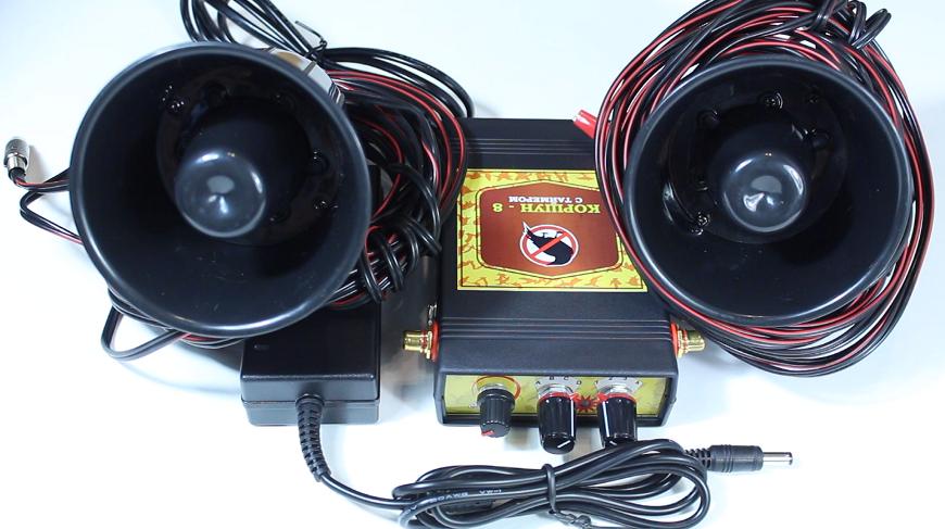 """Комплектация """"Коршун-8"""". Содержит 2 динамика, блок управления и адаптеры питания"""
